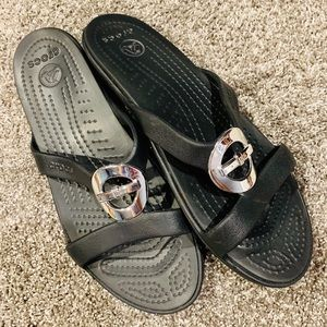 {CROCS} Black Sandal with Silver Detail